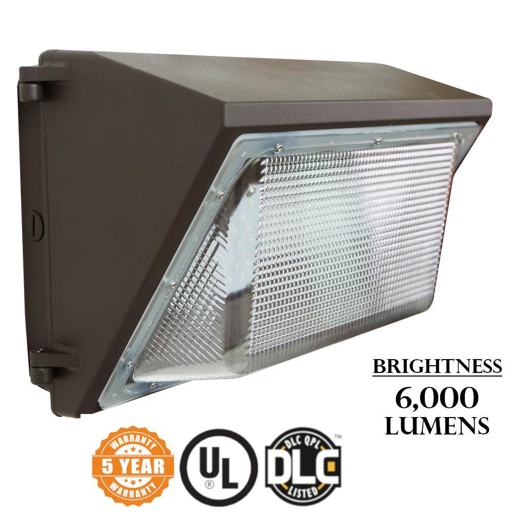 Wall Pack 50-Watt Bronze Outdoor Integrated LED Industrial-Grade Light