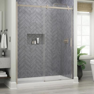 Commix 60 in. x 76 in. Frameless Sliding Shower Door in Nickel with 5/16 in. (8 mm) Clear Glass
