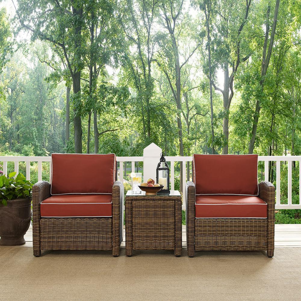 Outdoor Furniture Covers Singapore: Crosley Bradenton 3-Piece Wicker Outdoor Conversation Set
