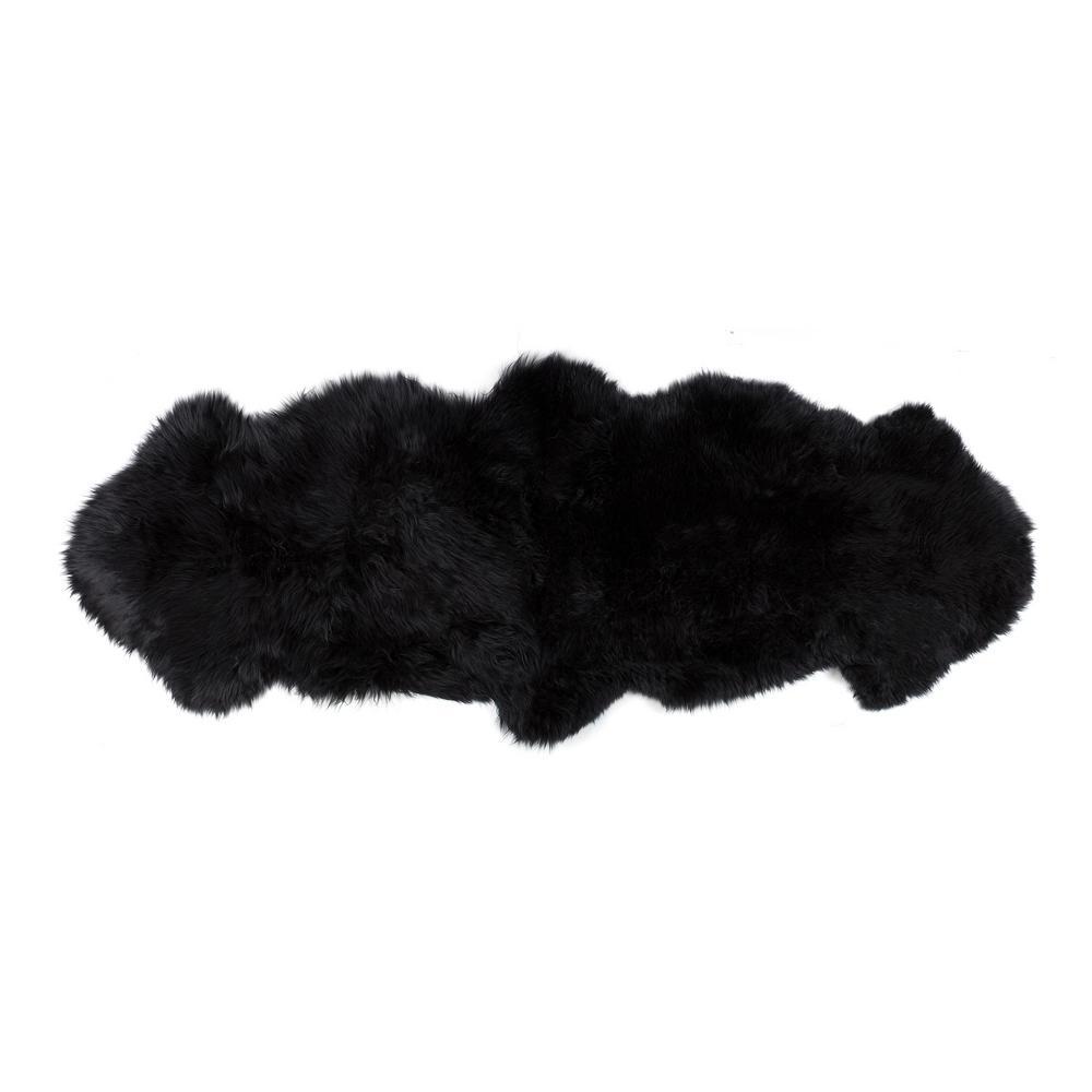 New Zealand Black 2 ft. x 6 ft. Double Sheepskin Area Rug