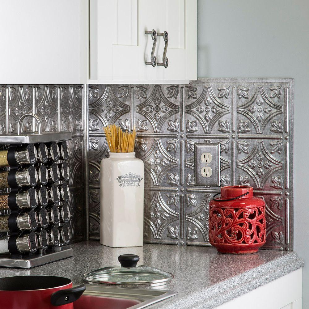 Pattern tile backsplashes tile the home depot traditional 1 pvc decorative backsplash panel in crosshatch silver dailygadgetfo Choice Image