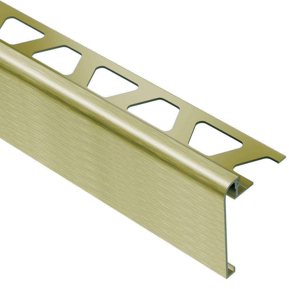 Schluter Rondec-Step Brushed Brass Anodized Aluminum 3/8 in. x 8 ft. 2-1/2 in. Metal Tile Edging Trim