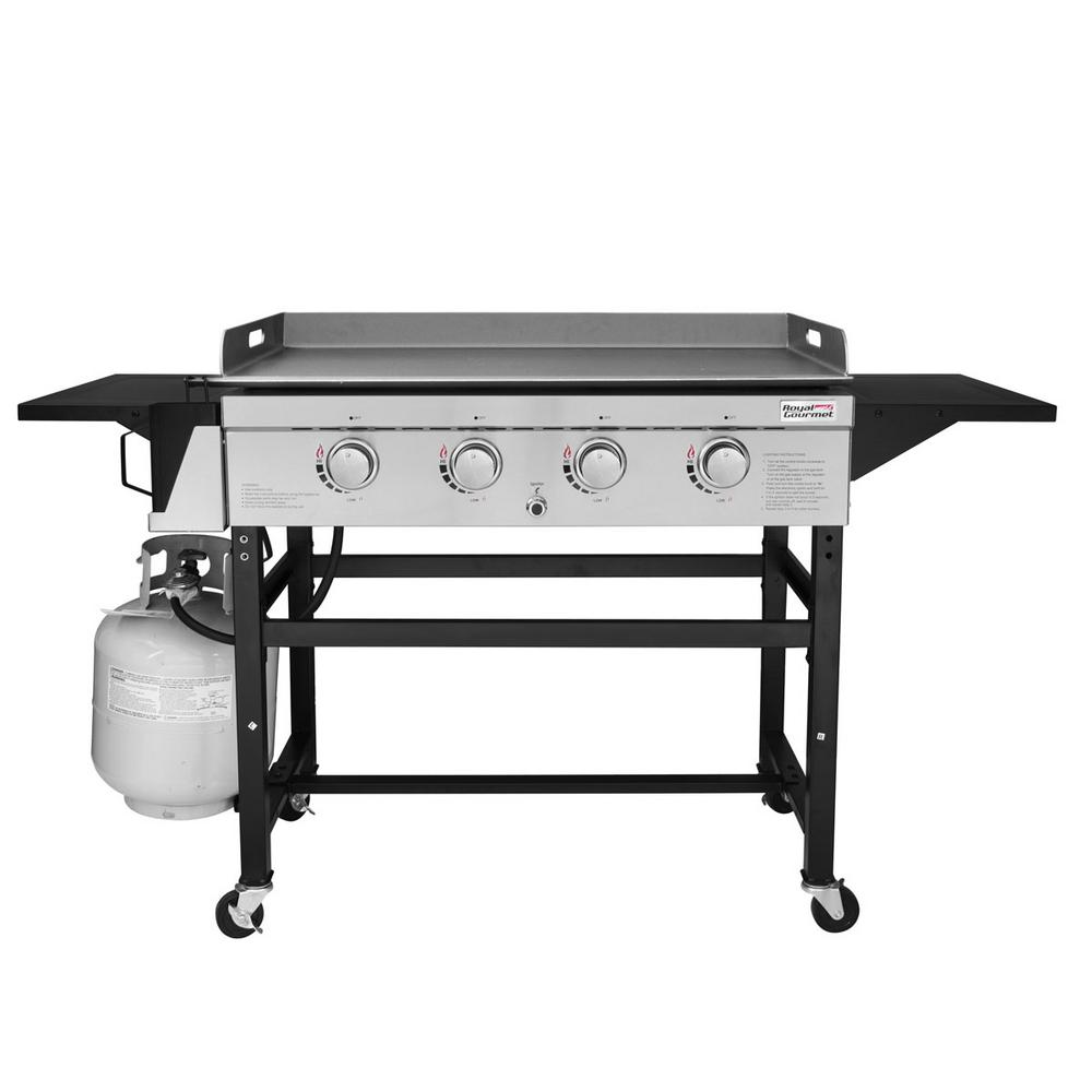 Royal Gourmet 4-Burner Propane Gas Grill Griddle in Steel with Fixed Side Tables