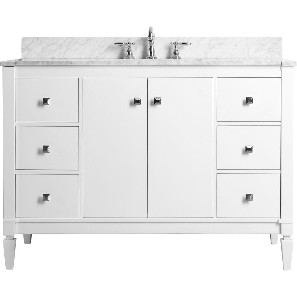Ancerre Designs Kayleigh 48 in. W x 22 in. D Vanity in White with Marble Vanity Top in Carrera White with White Basin