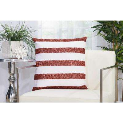 Beaded Stripes Outdp 20 in. x 20 in. Red and White Indoor and Outdoor Pillow