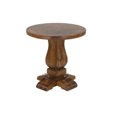 Litton Lane Small Brown Parquet Wood Round End Table with Pedestal Base