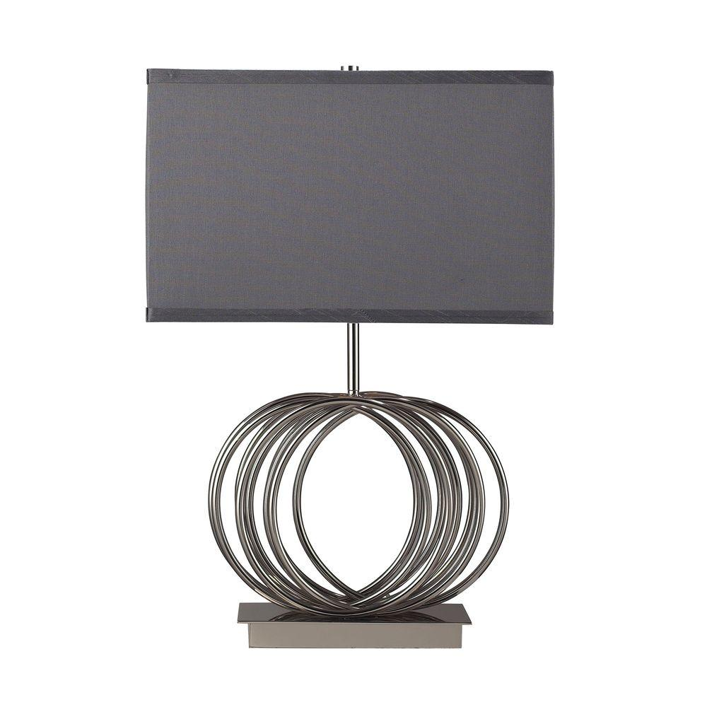 Titan Lighting Ekersall 22 In Chrome Table Lamp With Grey Faux Silk