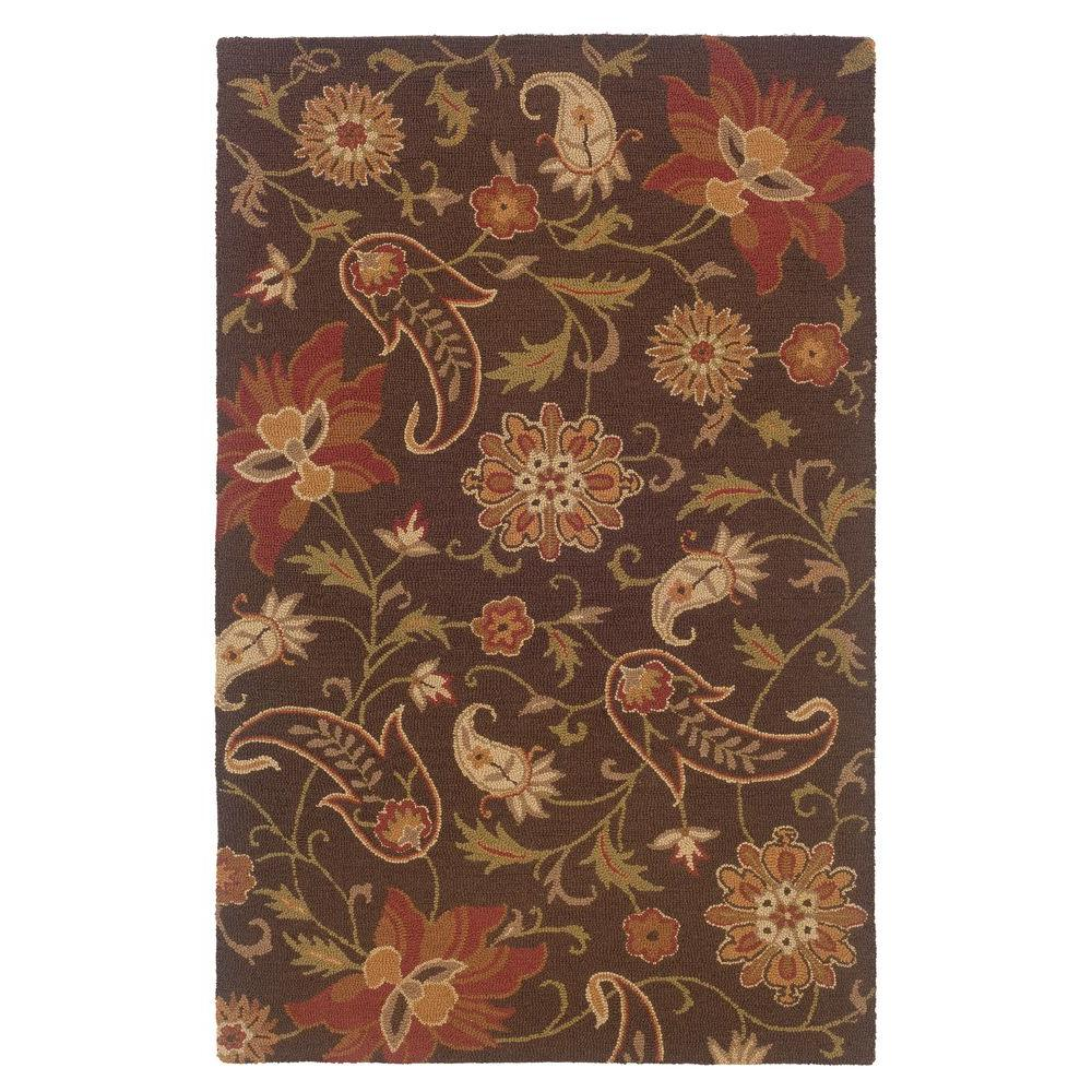 LR Resources Inspirational Floral Design Brown 8 ft. x 10 ft. Indoor Area Rug-DISCONTINUED