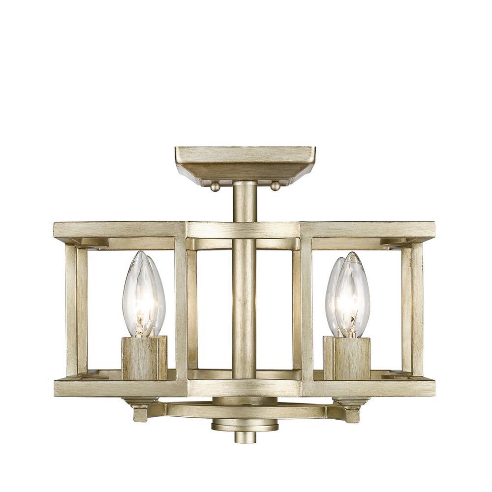 Golden Lighting Bellare 4 Light White Gold Semi Flush Mount