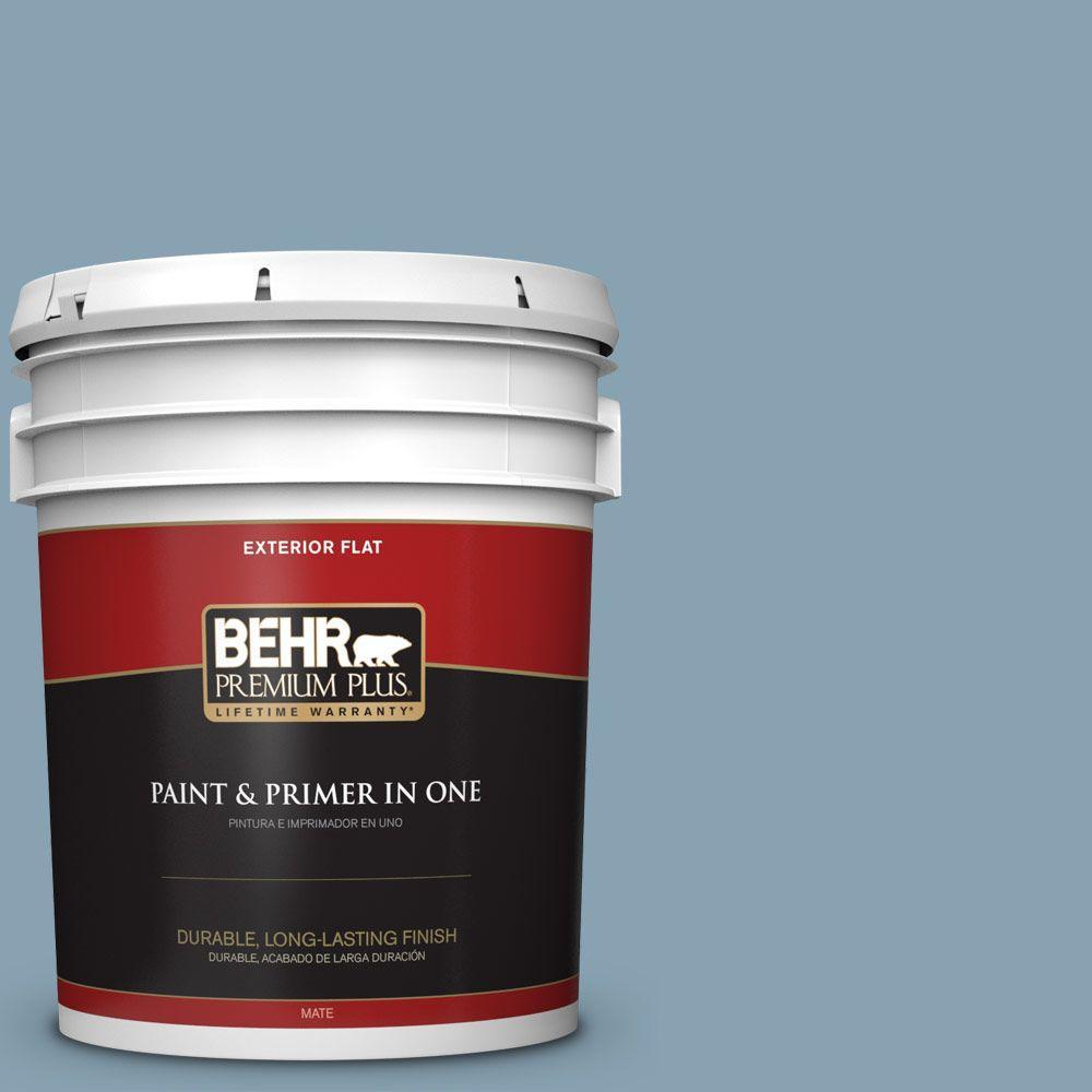 BEHR Premium Plus 5-gal. #T14-14 Cloisonne Blue Flat Exterior Paint