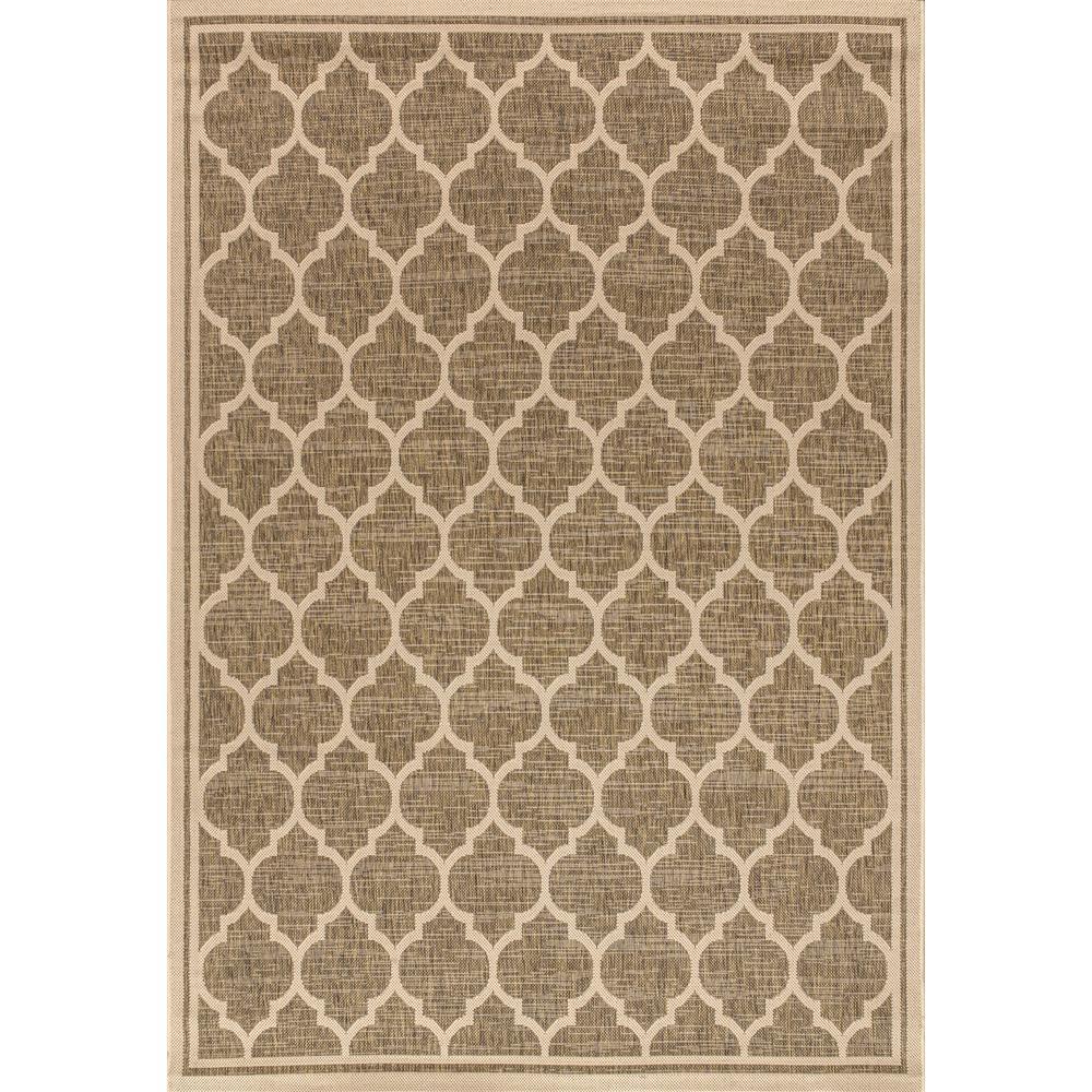 Jonathan Y Trebol Moroccan Trellis Brown Beige 5 Ft 3 In X 7 Ft 7 In Textured Weave Indoor Outdoor Area Rug Smb109a 5 The Home Depot