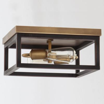 Boswell Quarter 12.5 in. 2-Light Vintage Brass Flush Mount with Painted Black Distressed Wood Accents