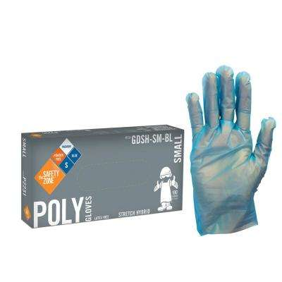 Small Blue Copolymer PE Blend Hybrid Stretch Powder-Free Gloves (10-Pack of 100-Count)