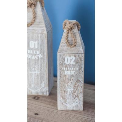 15 in. x 3 in. Nautical Stained White Wood and Rope Float