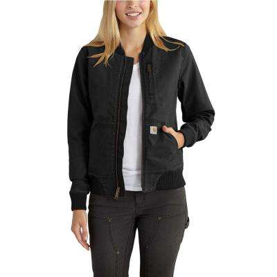 Women's Large Black Canvas Crawford Bomber Jacket