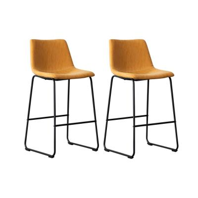 Clermont 39 in. Tan Upholstered Bar Stool (Set of 2)