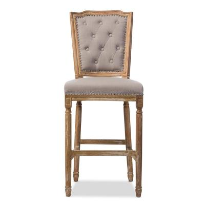 Estelle Beige Fabric Upholstered Bar Stool