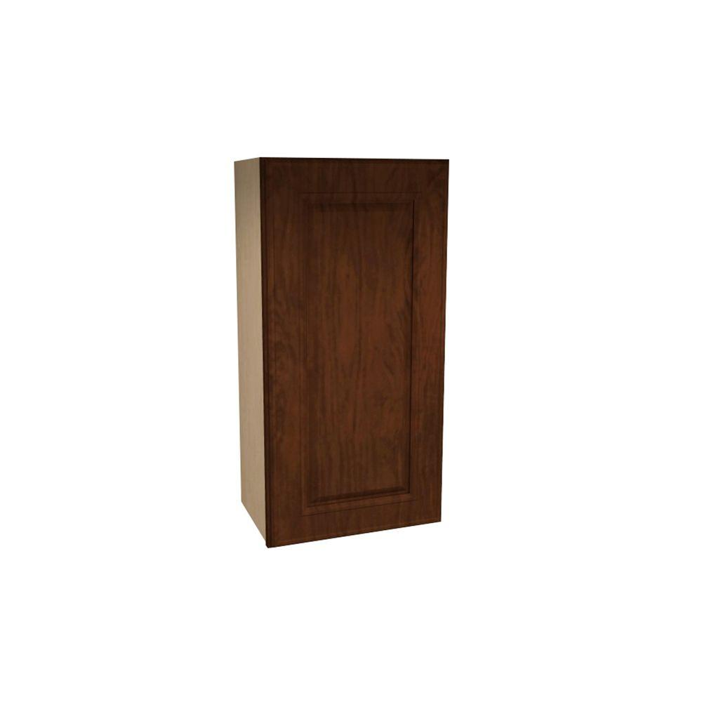 Home Decorators Collection Roxbury Assembled 12x42x12 in. Single Door Hinge Right Wall Kitchen Cabinet in Manganite