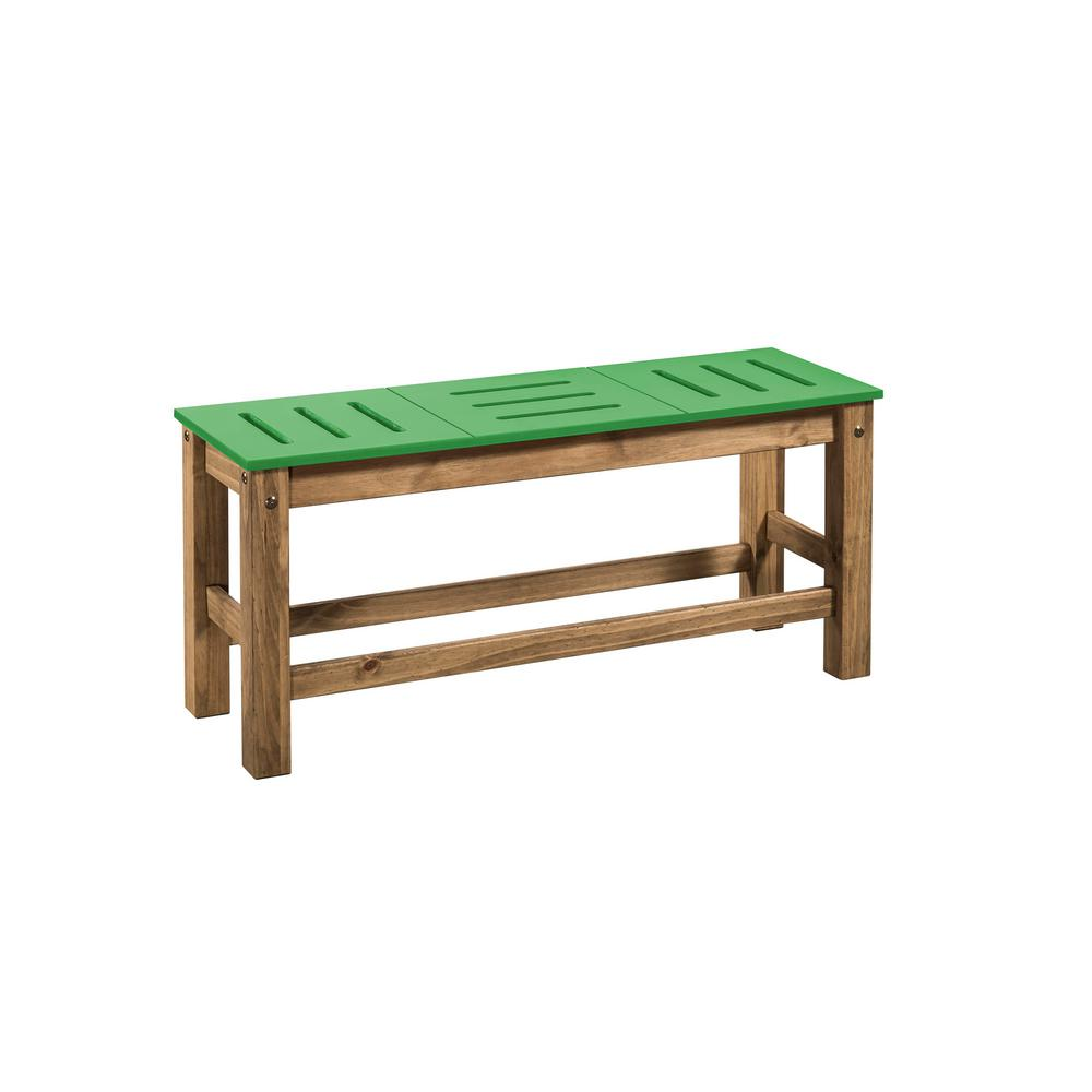 Stillwell 37.8 in. Green and Natural Wood Bench (Set of 2)