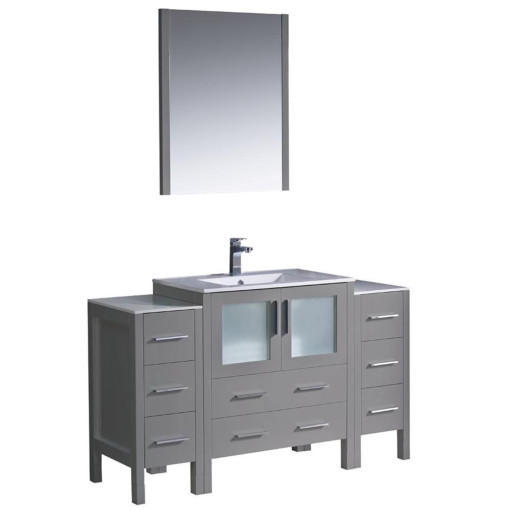 Fresca Torino 54 in. Bath Vanity in Gray with Ceramic Vanity Top in White with White Basin with Side Cabinets and Mirror