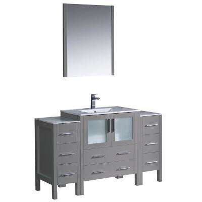Torino 54 in. Bath Vanity in Gray with Ceramic Vanity Top in White with White Basin with Side Cabinets and Mirror