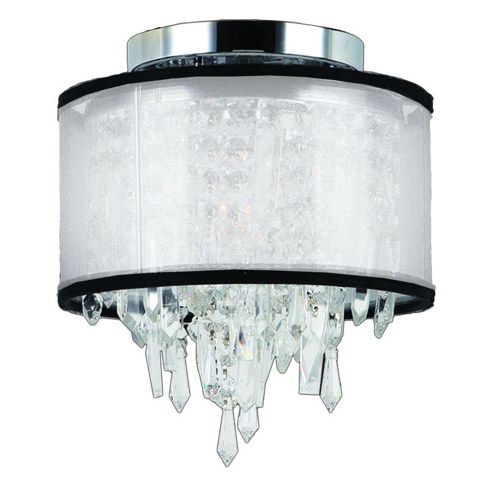 Worldwide Lighting Tempest Collection 1-Light Chrome Crystal Flushmount with White Organza Shade