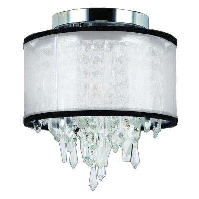 Tempest Collection 1-Light Chrome Crystal Flushmount with White Organza Shade
