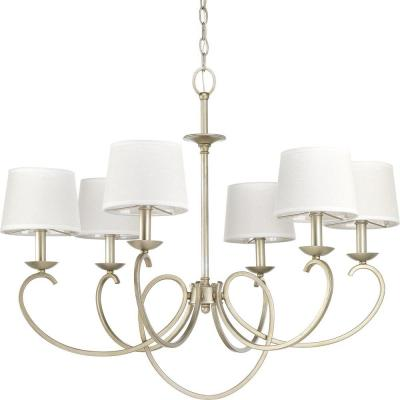 Savor Collection 6-Light Silver Ridge Chandelier with Shade