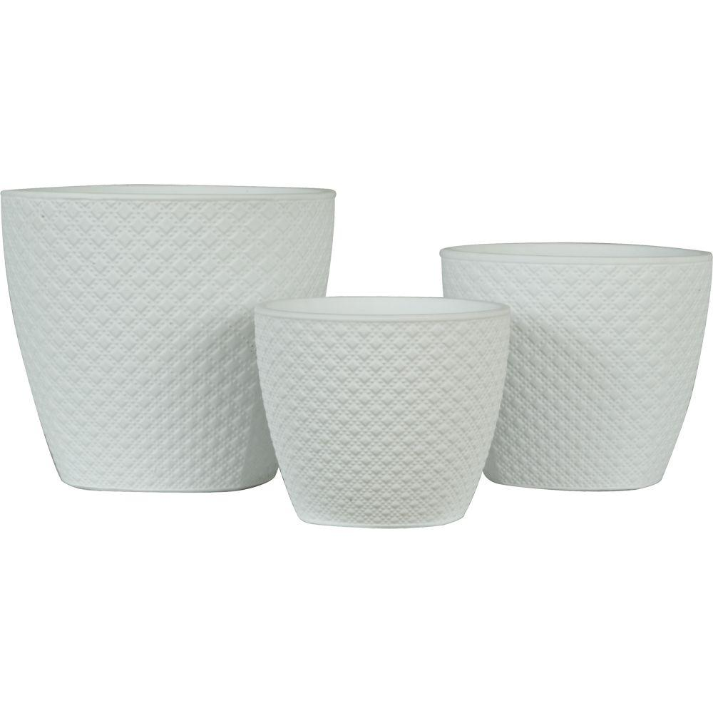 Pride garden products diamond 65 in 55 in and 45 in white pride garden products diamond 65 in 55 in and 45 in white ceramic pots set of 3 50033wt the home depot mightylinksfo Choice Image
