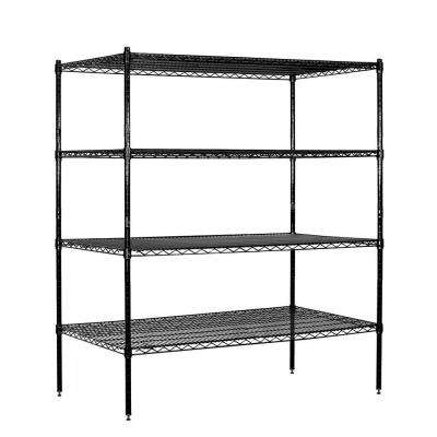 60 in. W x 63 in. H x 24 in. D Industrial Grade Welded Wire Stationary Wire Shelving in Black