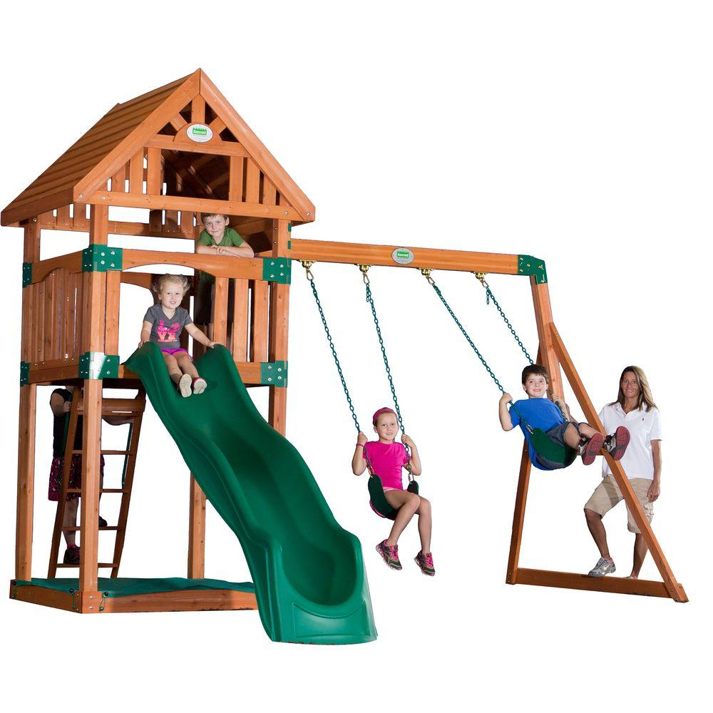 backyard discovery trek all cedar playset 54213com the home depot