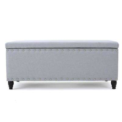 Tatiana Light Gray Fabric Storage Bench with Studs