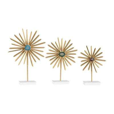 Cruzada 22 in., 19 in. and 16 in. Metal in Gold and Faux Agate Decorative Stands (Set of 3)