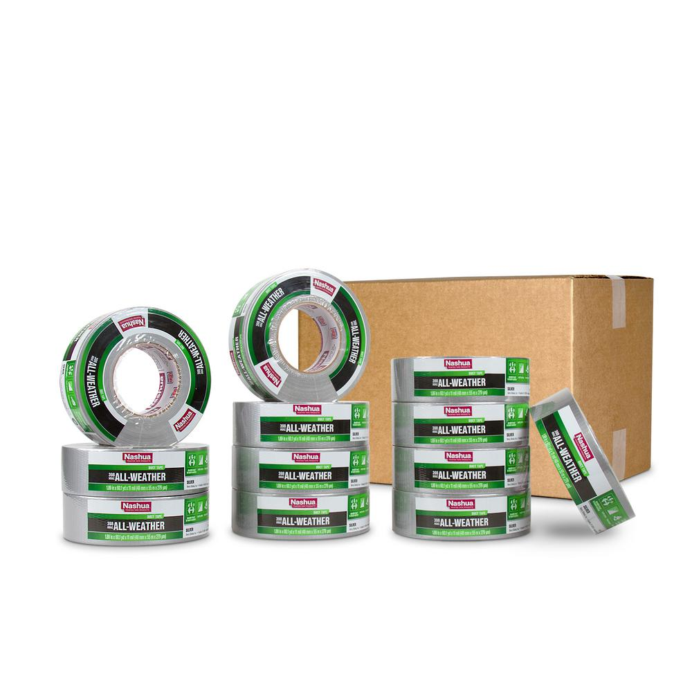 Nashua Tape 1.89 in. x 60 yd. 398 All-Weather HVAC Duct Tape in Silver Pro Pack (12-Pack)
