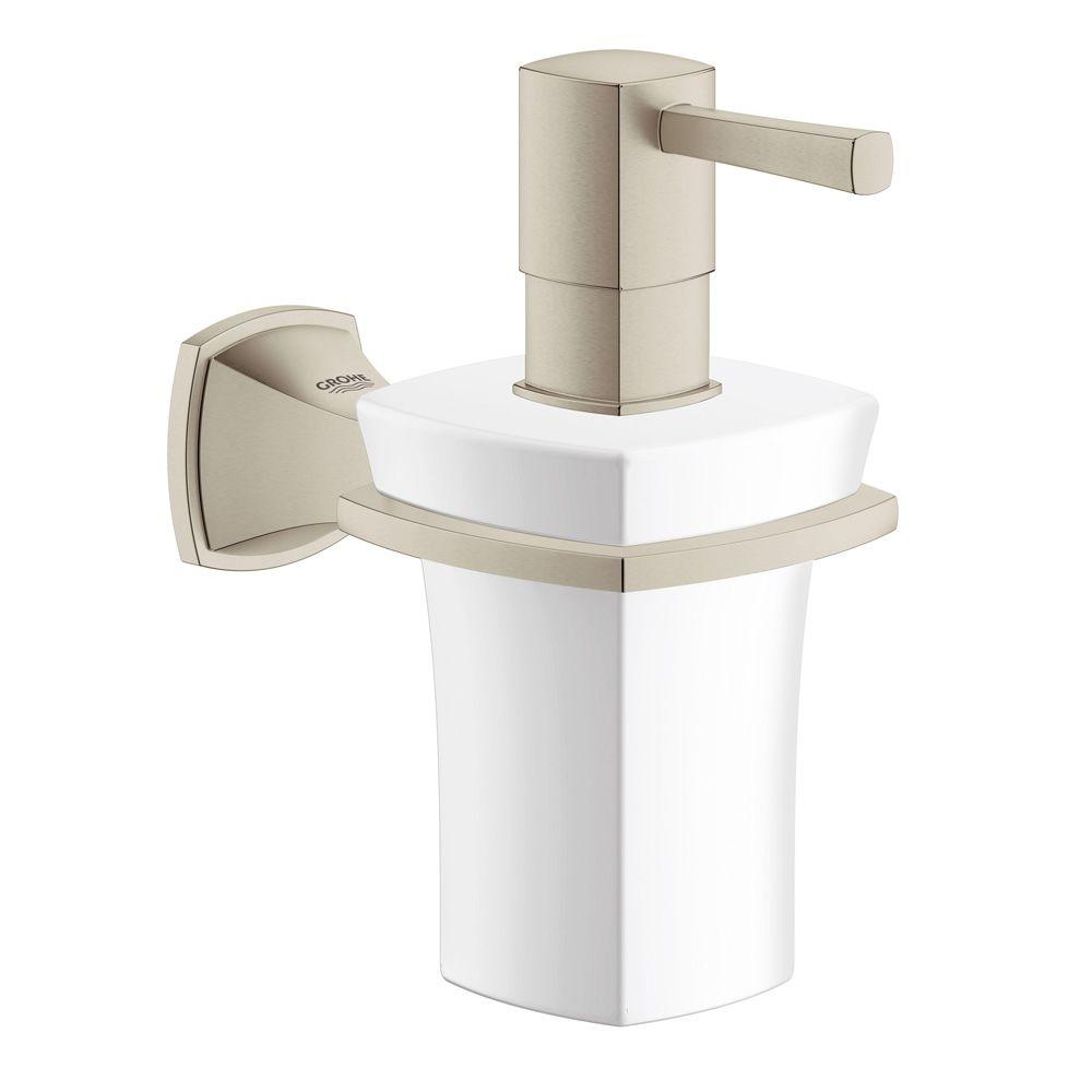 Grandera Wall-Mounted Ceramic Soap Dispenser with Holder in Brushed Nickel
