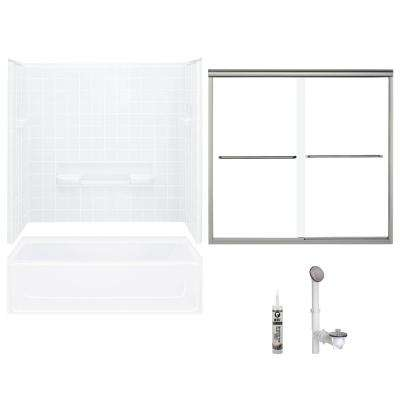 All Pro 30 in. x 60 in. x 72.75 in. Bath and Shower Kit with Left-Hand Drain in White and Brushed Nickel