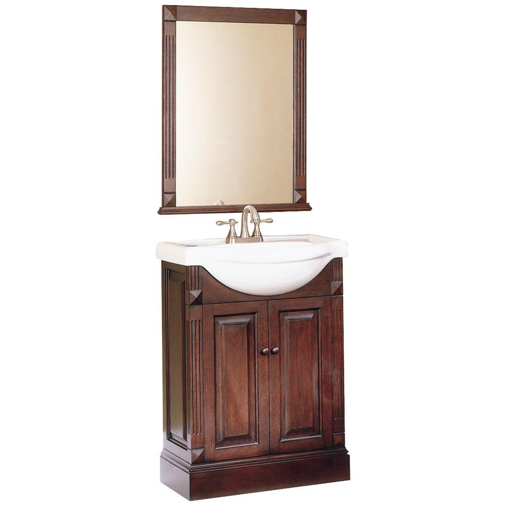Home Decorators Collection Rno 25 In W Bath Vanity White With Porcelain Top And Mirror Hdv22w The Depot