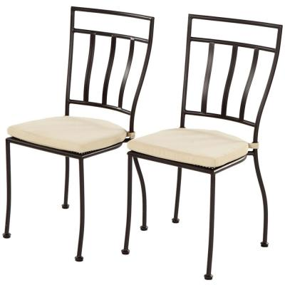 Semplice Bistro Charcoal Black 19 in. Stackable Metal Outdoor Dining Chair with Tan Cushion (2-Piece)