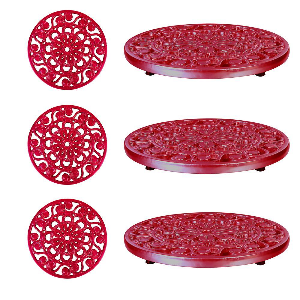 Decorative Red Cast Iron Metal Trivets (Set of 3)