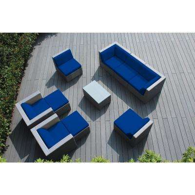 Gray 10-Piece Wicker Patio Seating Set with Spuncrylic Blue Cushions