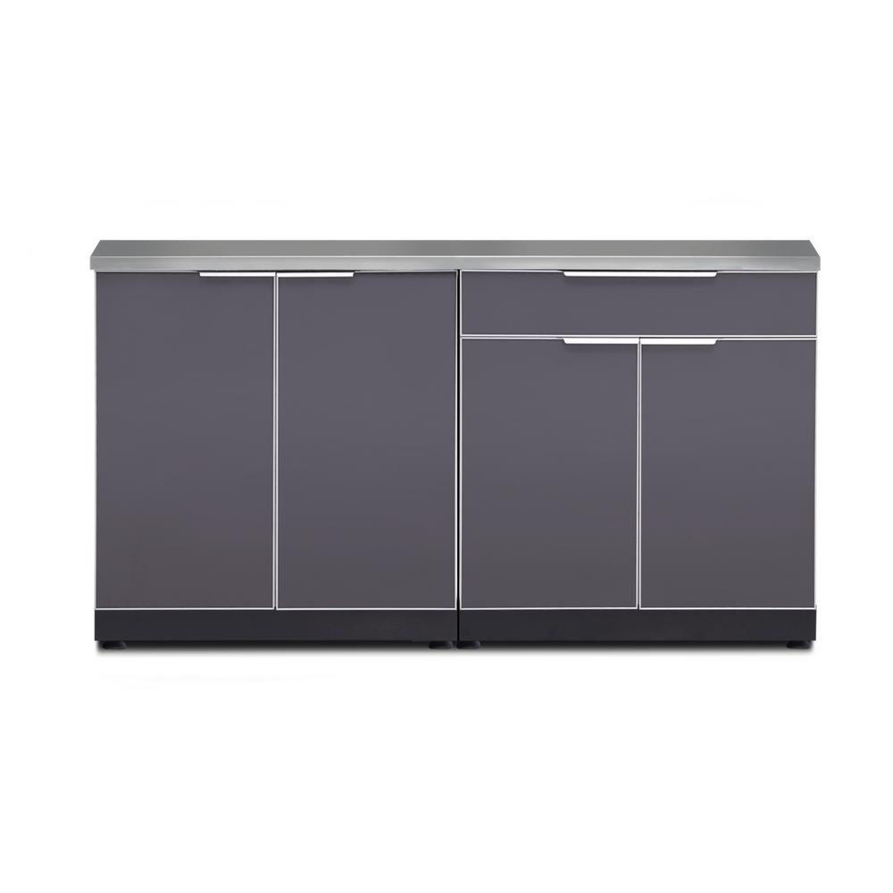 Kitchen Cabinet Set: NewAge Products Aluminum Slate 3-Piece 97x36x64 In