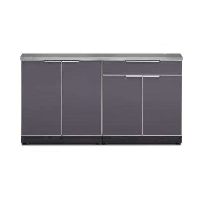 Aluminum Slate 3-Piece 97x36x64 in. Outdoor Kitchen Cabinet Set on Casters with Covers