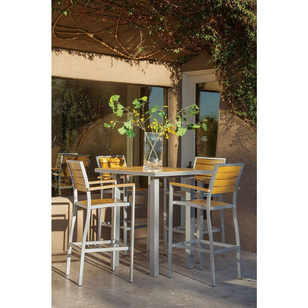 058b7071c78 Basics Textured Silver All-Weather Aluminum Plastic Outdoor Bar Set in  Plastique Slats
