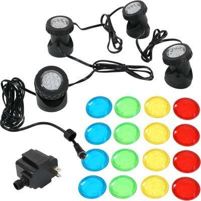 Submersible Electric LED Light Kit with Transformer for Aquarium, Garden or Pond (4-Pack)