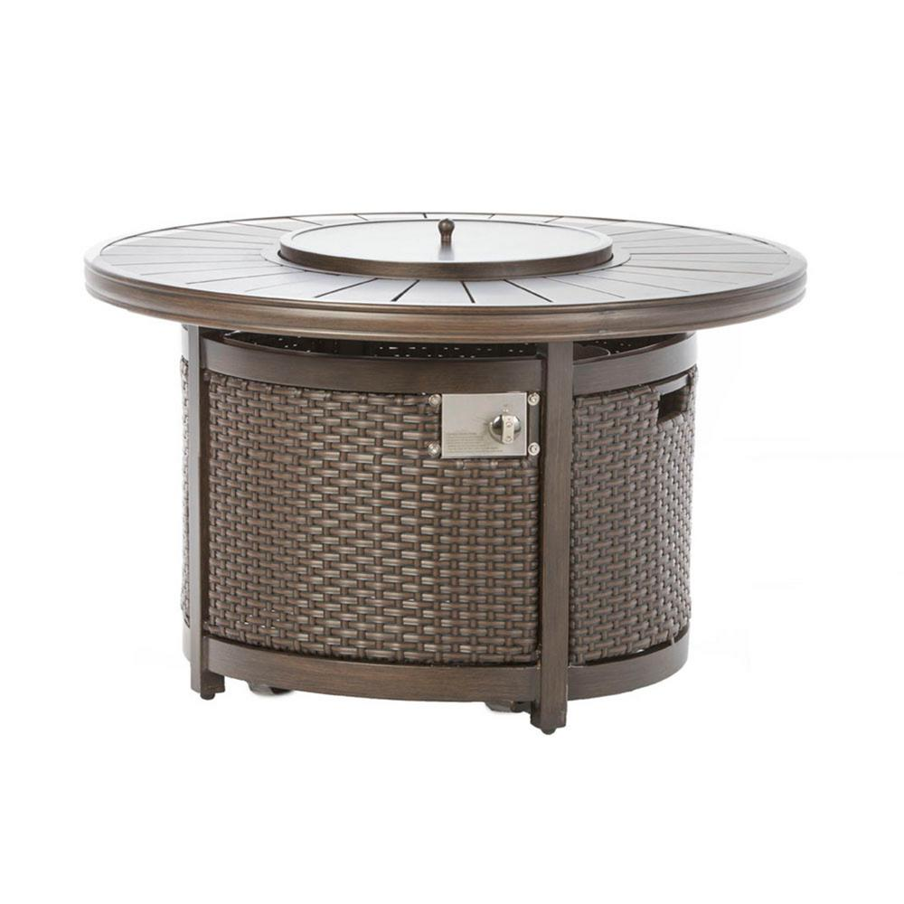 Alfresco Lexington 48 in. x 25 in. Round Aluminum Propane Gas Fire Pit with Glacier Ice Firebeads