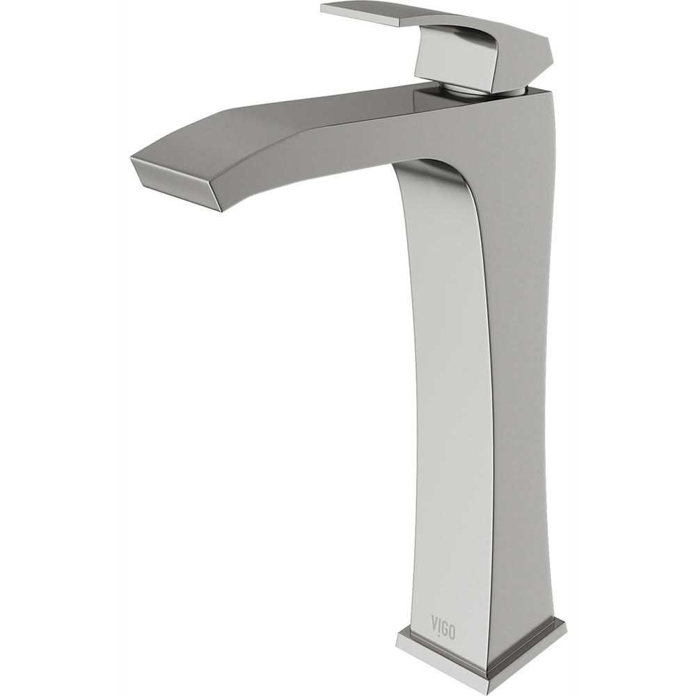 VIGO Blackstonian Single Hole Single-Handle Vessel Bathroom Faucet in Brushed Nickel