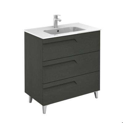 Vitale 32 in. W x 18 in. D 3-Drawers Vanity in Grey Nature with White Basin