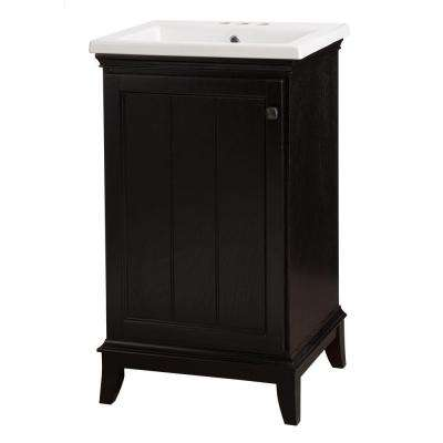 Dunsby 20-1/2 in. Vanity in Espresso with Vitreous China Vanity Top in White