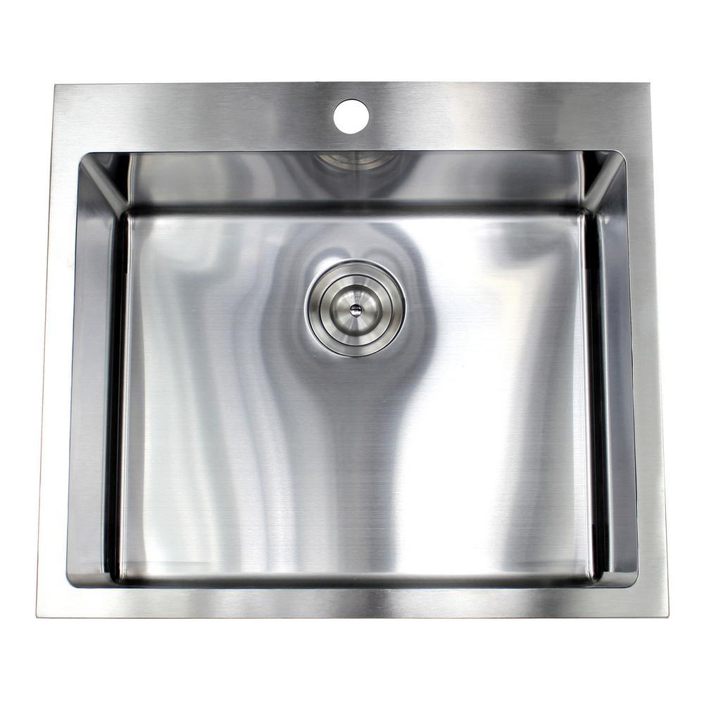 Drop-In Topmount 16-Gauge Stainless Steel 25 in. x 22 in. x 10 in. Single Bowl Kitchen Sink