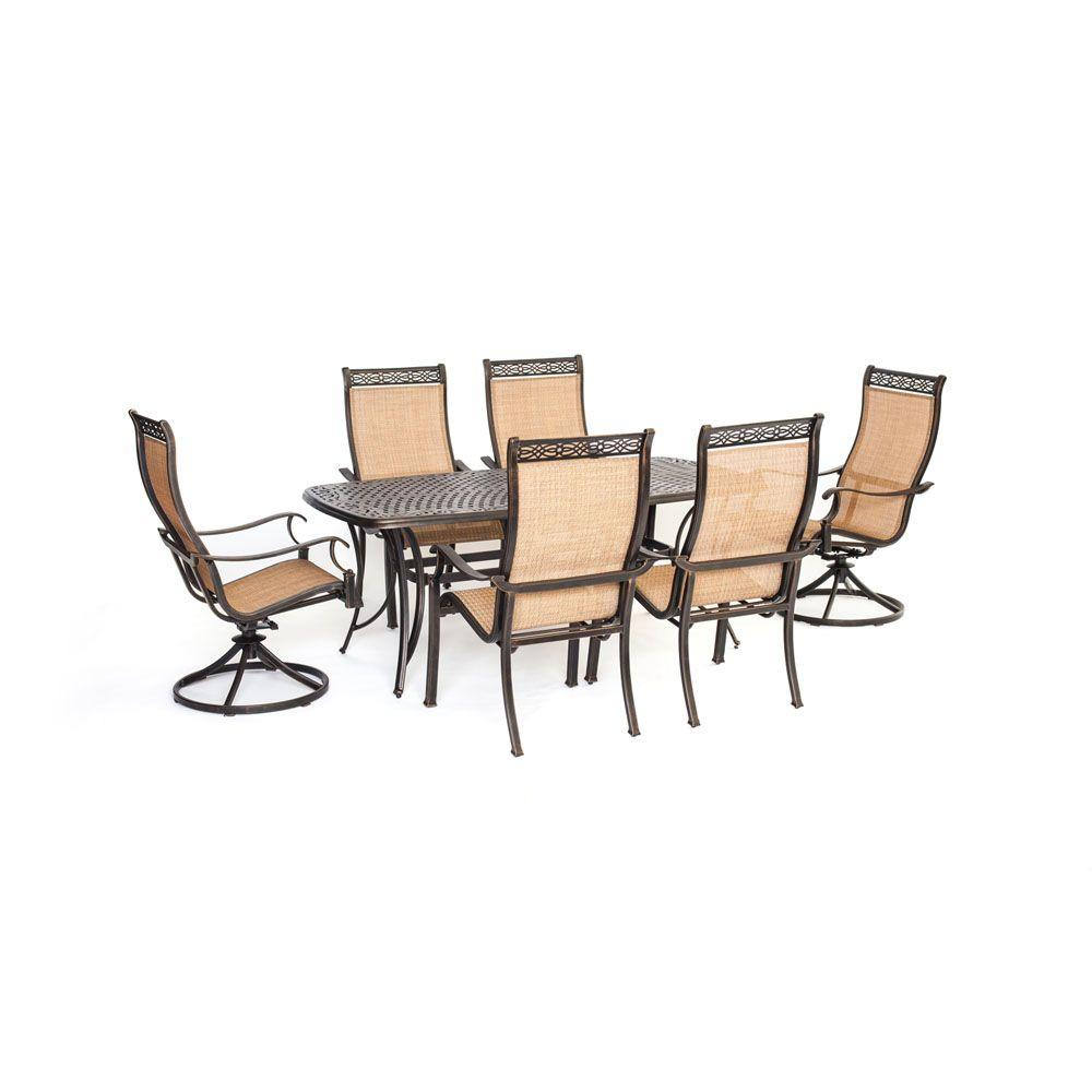 Hanover manor 7 piece round cast top patio dining set with for Jardin 8 piece dining set